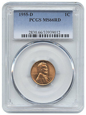 1955-D 1C Lincoln Wheat One Cent Ms 66 Rd Red Pcgs