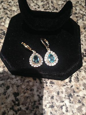 Beautiful 18k Yellow Gold Filled Pale Blue Diamonique Teardrop Earrings