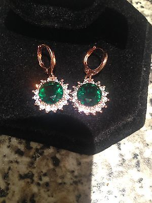 Stunning 18k Gold Filled Emerald Green Round Diamonique Drop Earrings