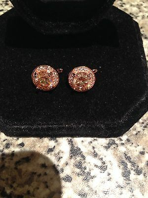 Beautiful 18k Rose Gold Filled Round Champagne Diamonique Huggie Earrings