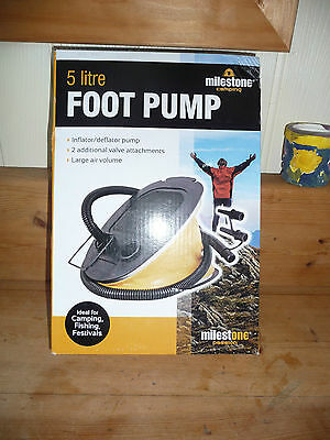 MILESTONE 5ltr CAMPING FOOT PUMP NEW BOXED see details