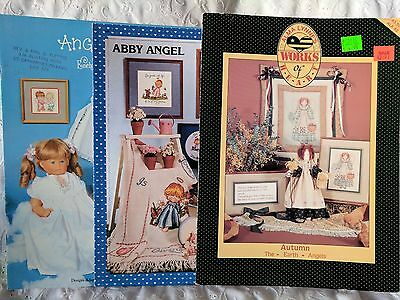Cross Stitch Patterns - Lot of 3 ANGEL BABY Themed Booklets     Lot #25