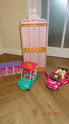barbie collection, car, jeep, horse stable and barbie display shelf