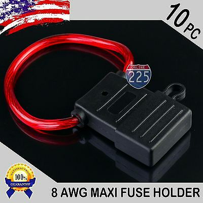 10 Pack 8 Gauge APX MAXI Inline Blade Fuse Holder w/ Waterproof Cap Heavy Duty