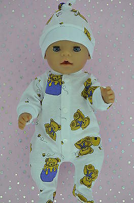 "Play n Wear Doll Clothes To Fit 17"" Baby Born PATTERNED ONESIE~HAT"