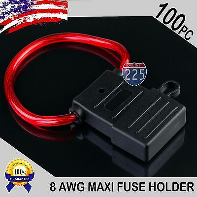 100 Pack 8 Gauge APX MAXI Inline Blade Fuse Holder w/ Waterproof Cap Heavy Duty