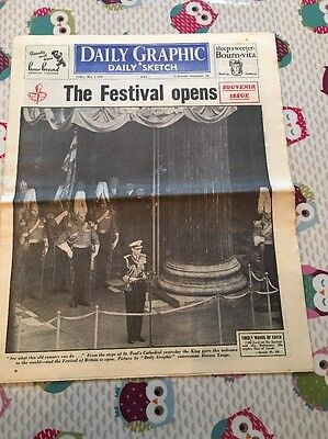 Daily Graphic and Daily Sketch 4th May 1951 Festival Of Britain Opens
