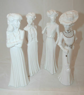 4 X Spode Edwardian Lady Figurine's Including 'olivia' By Pauline Shone