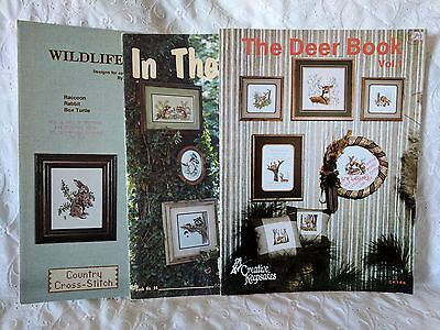 Cross Stitch Patterns - Lot of 3 FOREST ANIMAL Themed Booklets    Lot #32