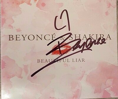 Beyonce Hand Signed Cd Single - Beautiful Liar - Rare - Autographed