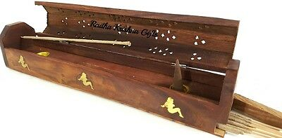 "Lady Wooden Coffin Box 12"" L Incense Burner for Sticks and Cones."
