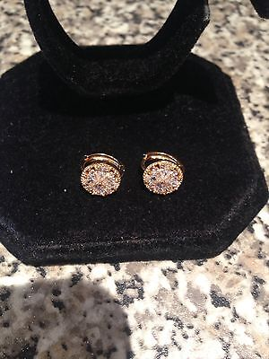 Stunning 18k Gold Filled Clear Diamonique Round Cluster Huggie Earrings