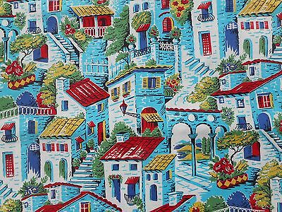 Gorgeous unused vintage 50's Mediterranean scenic cotton fabric - 1M lengths