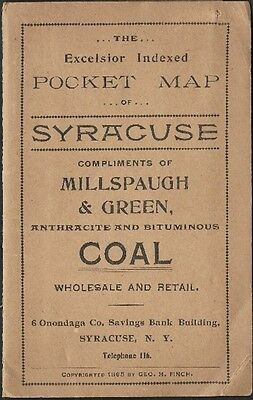 Original 1895 Coal Dealer Vest Pocket Map SYRACUSE University New York Antique