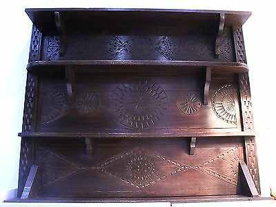 GENUINE OLD OAK CARVED WALL RACK DATED 1903 MADE FROM 18th CENTURY OAK BOARDS