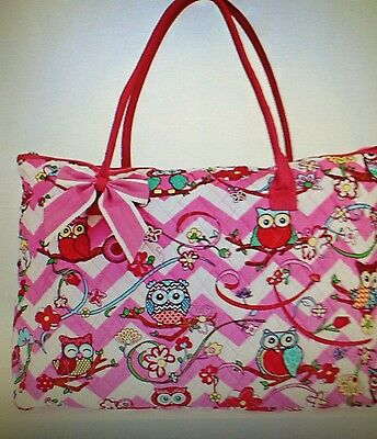 Owls!!!! Girls Quilted Pink And White Chevron With Owls, Bag / Tote