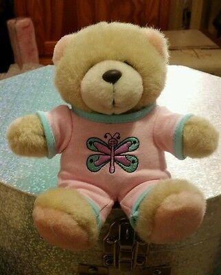 Forever Friends Plush Teddy Bear Wearing Pink Romper Suit with Butterfly Motif