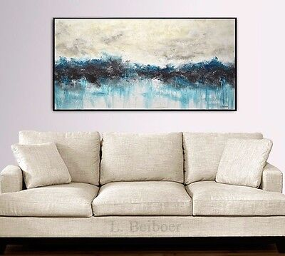 LARGE MODERN ABSTRACT LANDSCAPE ART 24 x 48 ORIGINAL BLUE PAINTING ~ L. Beiboer