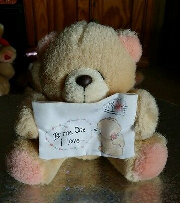 Forever Friends Small Sitting Plush Teddy Bear Holding 'To the One I Love' Sign