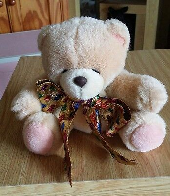 Forever Friends Vintage Small Sitting Plush Teddy Bear With Harlequin Ribbon
