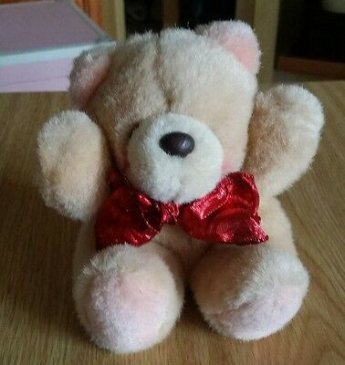 Forever Friends Vintage Sitting Plush Bear with Red Shiny Bow - Item No.77001