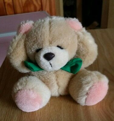 Forever Friends Vintage Small Sitting Plush Teddy Bear With Green Cotton Bow Tie