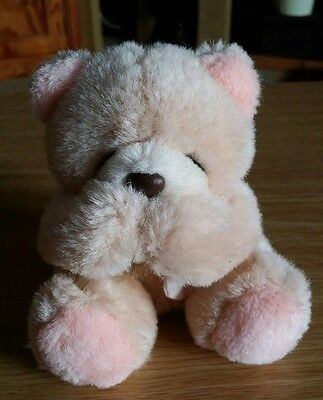 Forever Friends Vintage Small Sitting 'Speak No Evil' Bear With Pink Bow (117)
