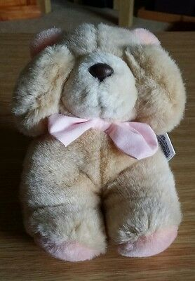 Forever Friends Vintage Small Sitting 'See No Evil' Bear wearing Pink Bow (118)