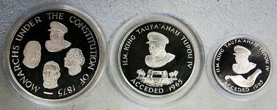 1975 Silver Tonga 5, 10, 20, Pa'anga Proof 3 Coin Constitution Centennial Set