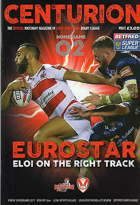 Leigh Centurions V St.helens Rugby League Programme 24/02/17