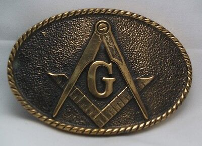 BTS MASONIC MASON BELT BUCKLE Solid Brass Vintage