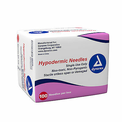 Dynarex Hypodermic Needles Box of 100,  25G X 5/8  #6972