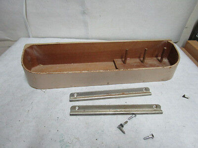 vintage Wall Mount Wood Sewing Tray with 3 Spindles for Thread - Estate Listing