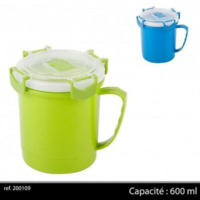 Assorted Colours 600ml Microwavable Soup Mug Travel Camping (200109)