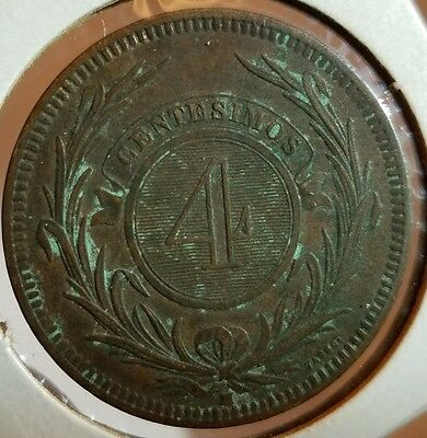 1869 Uruguay 4C coin, Clear Details, Nice toning and patina