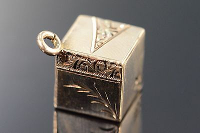 10K Antique Engraved Cube Charm/Pendant Yellow Gold