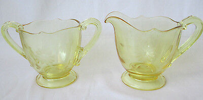 Lancaster Jubilee Yellow Depression Glass Creamer & Sugar Floral Cuts