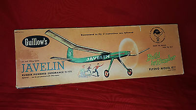 Vintage Guillow's Javelin Powered Balsa Aircraft 24in  Model Kit
