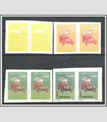 Uruguay #1397 Progressive Color Proof Imperf Pairs Autos MNH