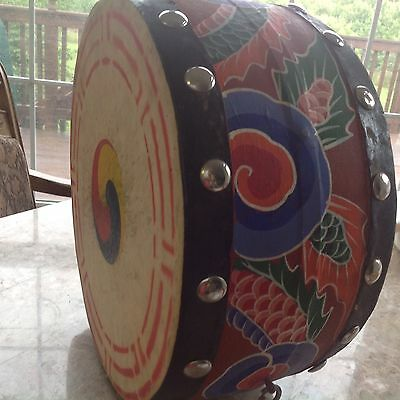 Beautiful  Make By Hand  Korean Folk Drum with Double Dragons