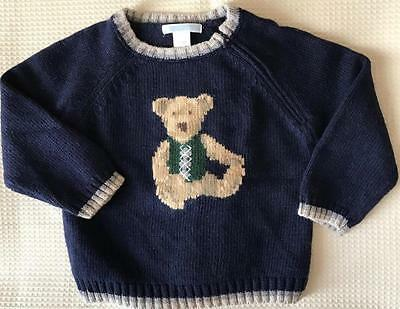 EUC GIRLS BOYS JANIE and JACK PULLOVER TEDDY BEAR SWEATER 12-18 M MO Navy Blue
