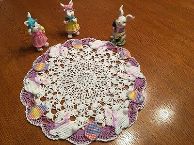 Hand Crocheted Easter Bunnys On Parade Centerpiece Doily.