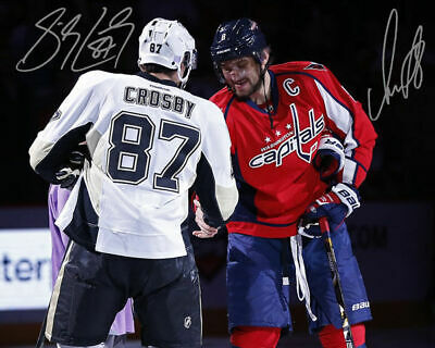 Alex Ovechkin Sidney Crosby Captials Penguins Signed Autograph Reprint