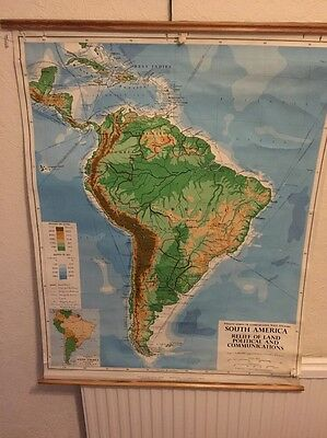 South America Relief Of Land And Political Vintage School Map