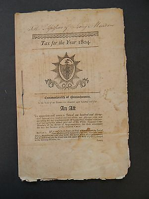 TAX FOR THE YEAR 1804 COMMONWEALTH OF MASSACHUSETTS - 23 Pages