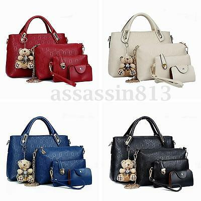 4PCS/Set Women PU Leather Handbag Shoulder Bag Tote Card Bag Clutch Purse Wallet