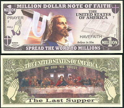 Lot Of 25 Bills - Christian / Jesus Last Supper Millon Dollar Note Of Faith