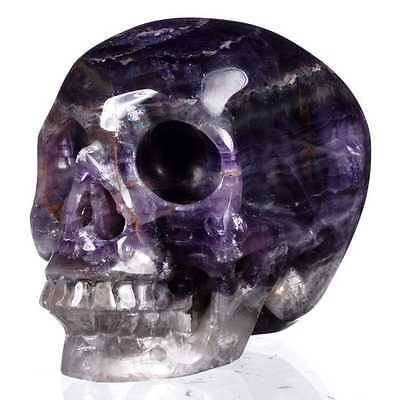 """2.87"""" Natural Purple Fluorite Hand Carved Human Skull,Collectibles#23A65"""