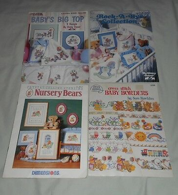 COUNTED CROSS STITCH CHARTS DESIGNS FOR BABIES total of 4 BOOKLETS