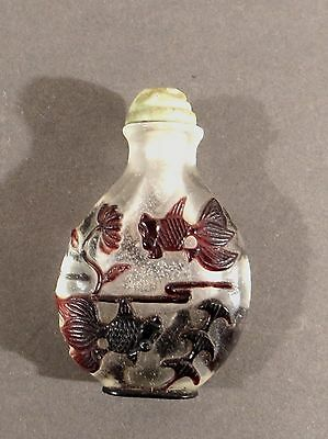 Chinese Antique Peking Glass Overlay Coi Fish Snuff Bottle Original Stopper